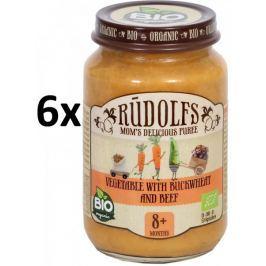 RUDOLFS Dětské masové pyré zelenina + hovězí - 6x190 g