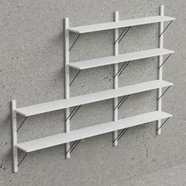 Design Scandinavia Nástěnný policový systém Dellan, 236 cm, bílá