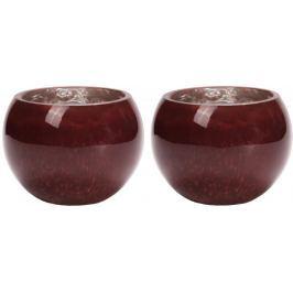 Wittkemper Svícen na čajovou svíčku S červený, 10 cm, 2 ks