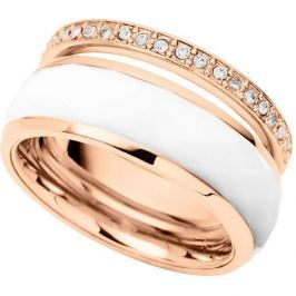 Fossil Dvojitý prsten White Rondeles JF01123791 (Obvod 59 mm)