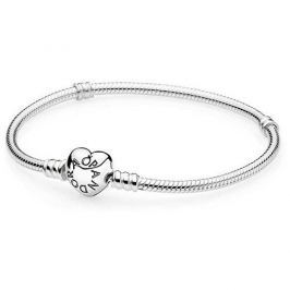 Pandora Pevný náramek se srdíčkovým zapínáním 590719 (Délka 18 cm) stříbro 925/1000