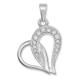 Brilio Přívěsek srdce s krystaly 249 001 00472 07 - 1,05 g zlato bílé 585/1000