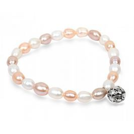 JwL Luxury Pearls Jemný náramek z pravých perel s kovovou ozdobou JL0294