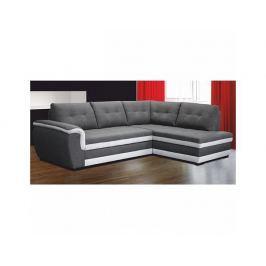 Rohová rozkládací sedací souprava s úložným prostorem, pravé provedení, látka šedá / látka cream, RUBA