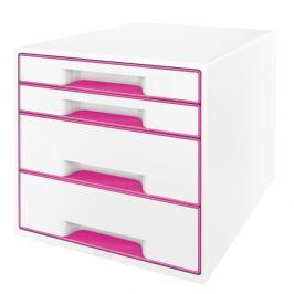 Box zásuvkový Leitz WOW 4 zásuvky růžový/bílý