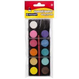 Barvy vodové 12 odstínů - 22 mm, černý barevník, Centropen