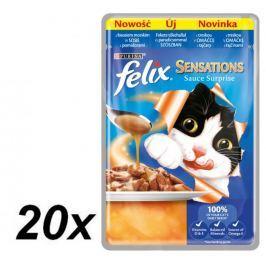 Felix Sensations Sauce Surprise kapsička s treskou v omáčce s příchutí rajčat 20 x 100g