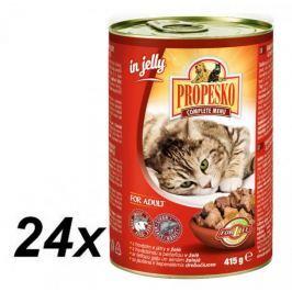 Propesko kousky kočka hovězí+játra v želé 24 x 415 g