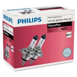 Philips VisionPlus H4, 12 V, 60/55 W, 2 ks