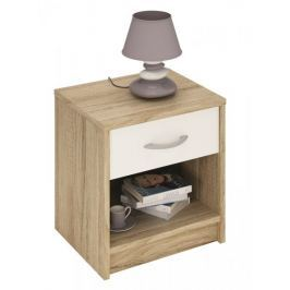 ISSIS, noční stolek, dub sonoma/bílá