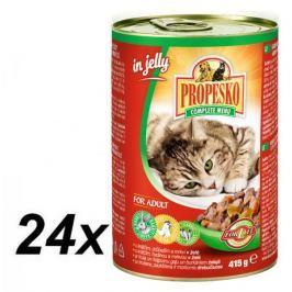 Propesko kousky kočka králičí, drůbeží s mrkví v želé 24 x 415g