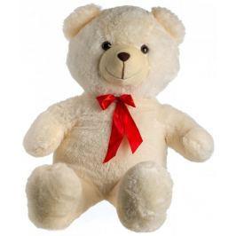 Teddies Medvěd plyš 100 cm béžový s mašlí