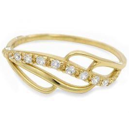 Brilio Zlatý prsten s krystaly 229 001 00624 - 1,35 g (Obvod 56 mm) zlato žluté 585/1000