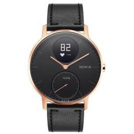 Nokia Steel HR (36mm) - Rose Gold w/ Black Leather + Black Silicone wristband