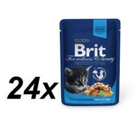 Brit Premium Cat Pouches Chicken Chunks for Kitten 24 x 100g