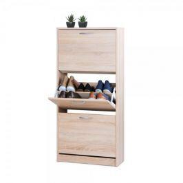 FARELA Botník s 3 výklopnými zásuvkami Zora, 123,5 cm, dub
