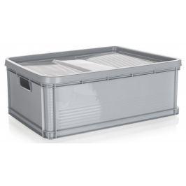 keeeper Přepravka nízká 45L, s víkem 60 x 40 cm šedá