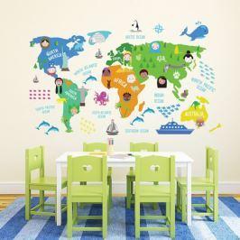 Walplus Samolepky na zeď, mapa světa