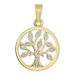 Brilio Zlatý přívěsek Strom života s krystaly 249 001 00442 - 1,05 g zlato žluté 585/1000