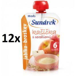 Sunárek Kašička s cereáliemi jablko a broskev 12x120g Příkrmy kojenců