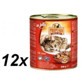 Propesko kousky kočka hovězí+játra v želé 12 x 830g