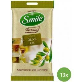SMILE Herbalis Vlhčené ubrousky Olivový olej 13x 10 ks