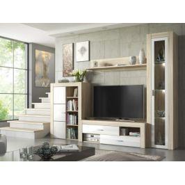 Obývací stěna NIZA, dub sonoma/bílá