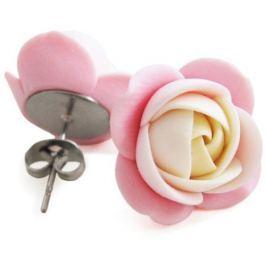 Troli Smetanovo-růžové náušnice puzetky kytičky
