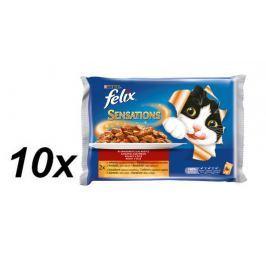 Felix Sensations s hovězím v želé s rajčaty + s kuřetem a želé s mrkví 10 x( 4x100g)