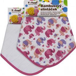T-tomi Bambusový slintáček růžoví sloni + bílý, 2ks