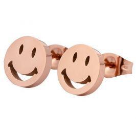 Troli Růžově pozlacené náušnice z oceli Smajlík KE-002 Náušnice
