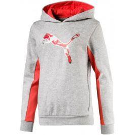 Puma Style Graphic Hoody Light Gray Heather 110 Dětské mikiny