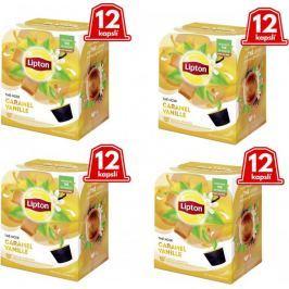 Lipton Černý aromatizovaný čaj Vanilka a karamel 4x12 kapslí 33,6g Kávové kapsle