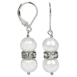 JwL Luxury Pearls Elegantní náušnice s pravými bílými perlami a krystaly JL0278 stříbro 925/1000