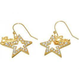 Guess Pozlacené hvězdičkové náušnice s krystaly UBE81302