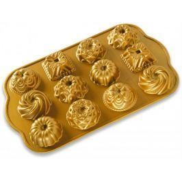 Nordic Ware Forma na minibábovky, plát s 12 formičkami zlatá