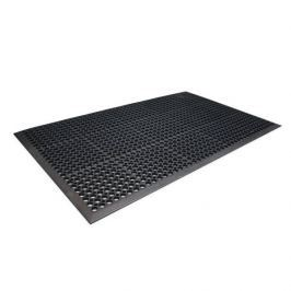Černá gumová protiúnavová průmyslová rohož - 150 x 90 x 1 cm