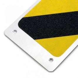 Černo-žlutý hliníkový protiskluzový nášlap na schody - 62,5 x 11,4 cm