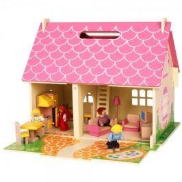 Bigjigs Toys Přenosný dřevěný domeček pro panenky