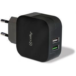 Celly Cestovní nabíječka Turbo (2x USB-A), černá