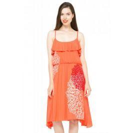 Desigual dámské šaty na ramínka 36 oranžová