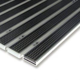 FLOMAT Černá gumová hliníková čistící venkovní vstupní rohož Alu Low - 100 x 100 x 1 cm