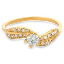 Brilio Zlatý prsten s krystaly 229 001 00509 - 1,45 g (Obvod 52 mm) zlato žluté 585/1000