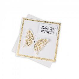 Svatební přání, zlaté s motýlem a Swarovski krystalem Přání