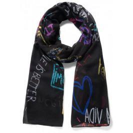 Desigual dámský černý šátek Lettering