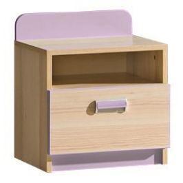 LOIRENTO, noční stolek L12, jasan/fialová