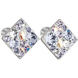 Evolution Group Slušivé čtvercové náušnice s krystaly Violet 31169.3 stříbro 925/1000