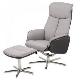 Design Scandinavia Relaxační křeslo s podnožkou Aurora, šedá