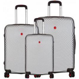 Sirocco T-1157/3 ABS Sada cestovních kufrů stříbrná