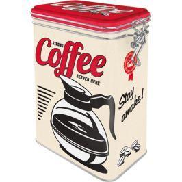 Postershop Plechová dóza s klipem Strong Coffee Served Here
